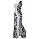 Vestido de Noite Estampa de Zebra Strass Furcal Evening Maxi Dress , Festa Casamento 1121