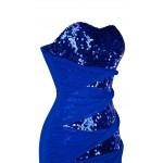 Vestido longo de Noite Strapless Azul Sequins Triângulo Cintura Em Camadas de Malha Longo 1101