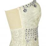 Vestido longo de Noite De Damasco estilo sereia com rensas e cristal 1091