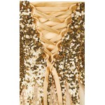 Vestido longo de Noite festa estilo sereia com Ouro lantejoulas malha Renda 1095