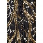 Vestido longo cor de ouro com lantejoulas e estilo sereia, Vestido de Noite