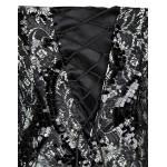 Vestido longo de Noite festa estilo sereia com Strapless Seuqins Rendas e Malha Apliques 1094