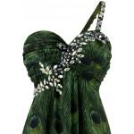 Vestido Longo um Ombro, Cristal Pavão Chiffon, Vestido De Baile e para Casamento 1141