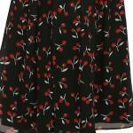 Vestido Longo V Neck Impressão Cereja Plissado vestidos de Festa,Vestidos de Noite de Verão 1131