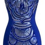 Vestido longo vintage com bordados, Vestido de noite e casamento cor azul 1086