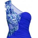 Vestido de Noite de Um Ombro com apliques flores  , Festa Casamento 1130