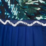Vestido Longo Estilo Anjo sem Mangas V neck Lantejoulas Plissado Tulle Longo Vestido de Noite 1145
