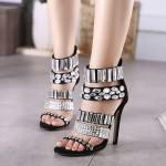 Sandália estilo verão 2016 com Strass salto alto