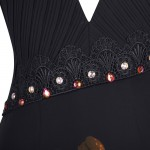 Vestido Longo de Gola V neck Backless Beading Plissado Chiffon. Vestido de Noite e para festa e Casamento 1158