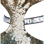 Vestido Longo Cetim Lantejoulas V neck Gradual Cor Paillette Sash Oco Vestido de Celebridade  Vestido de Noite e para festa e Casamento 1153