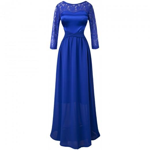 Vestido de Noite Mangas de Renda Em Torno Do Pescoço , Festa Casamento 1126