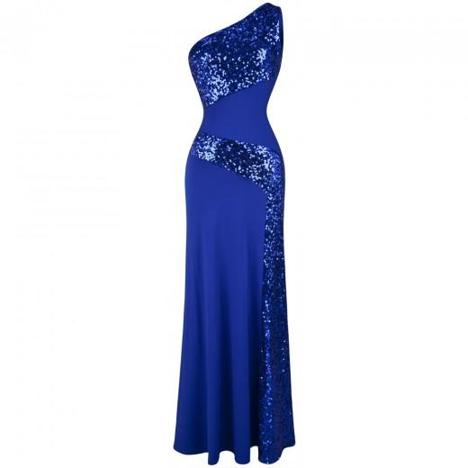 Vestido de Noite Lantejoulas de Um Ombro, Festa Casamento 1111