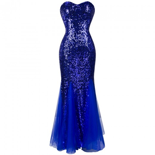 Vestido de Noite Abendkleid Strapless Lantejoulas e Rendas, Festa Casamento 1116