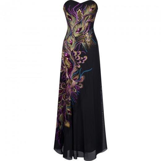 Vestido longo com Malha Bordado, Strapless, Lantejoulas Vestido de noite e casamento cor preto 1089