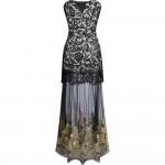 Vestido longo com Malha Bordado, Vestido de noite e casamento cor preto 1087