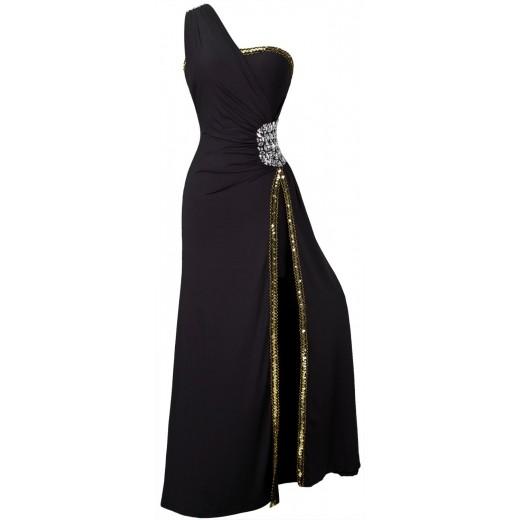 Vestido longo de Noite festa estiloUm Ombro Plissado 1098