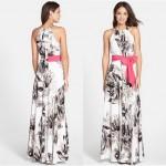 Vestido longo com estampa floral  Vestidos casuaist 1051