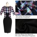 Vestido fino e elegante Multicolor xadrez gola meia manga na altura do joelho vestidos Plus Size l 1054