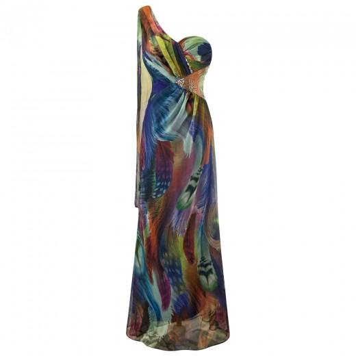 Vestido Longo de um ombro. Vestido de Noite e para festa e Casamento 1159