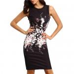 Vestido sexy para senhoras elegante, sem mangas vestido florido 1044-EL