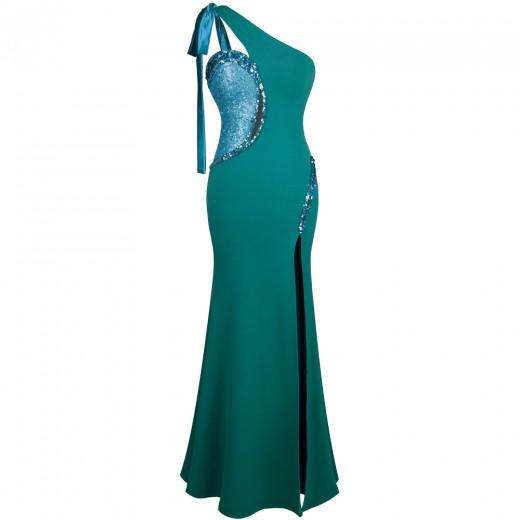 Vestido Longo  de um Ombro, Lantejoula Splicing. Vestidos para Festa e Casamento 1135
