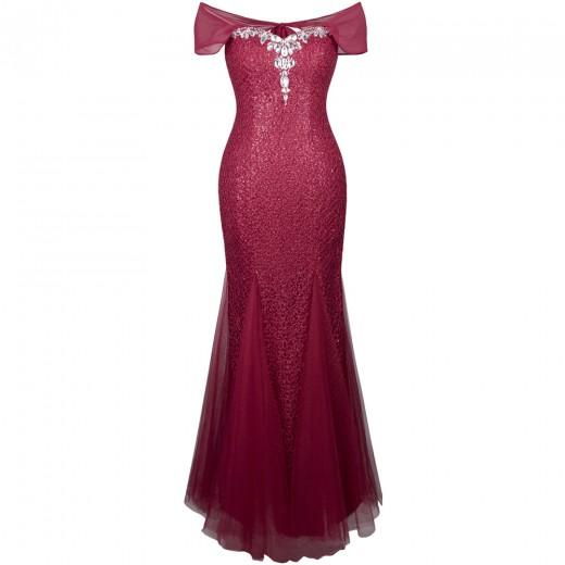 Vestido longo de Noite, festa Casamento sem Mangas estiço Sereia  1105