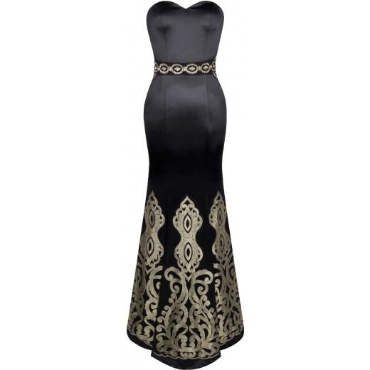 Vestido Longo Strapless Estilo Sereia Apliques, Vestido De Baile e para Casamento 1143