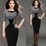 Vestido fino e elegante Multicolor xadrez gola meia manga na altura do joelho vestidos Plus Size l 1056