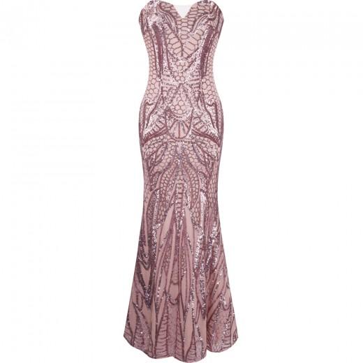 Vestido longo de Noite sem alça estilo sereia com lantejoulas 1092