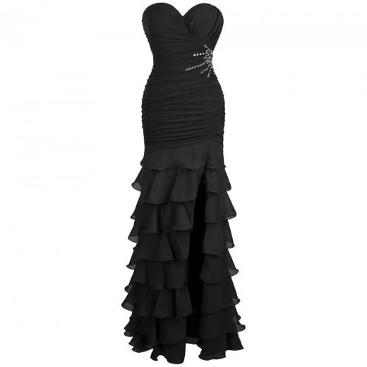 Vestido de Noite Abendkleid Strapless Beading Camadas Ruffles Slit Longo vestido de festa 1124