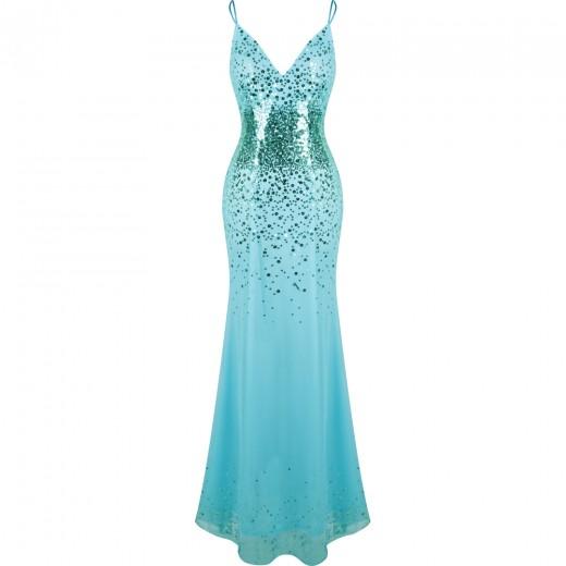 Vestido Longo Gola V neck Lantejoulas Mermaid Robe de soiree, Vestido De Baile e para Casamento 1142