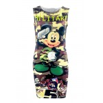 Vestido Sem Mangas Militar Camuflagem Mickey Mouse 1064