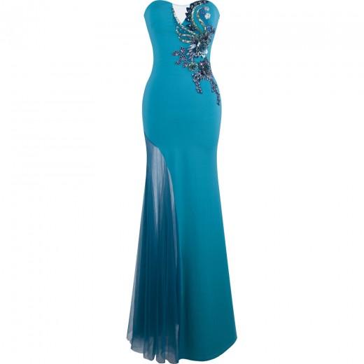 Vestido Longo Estilo Sereia Strapless Applique Floral Perfurado  Vestido para festa e Casamento 1151