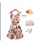 vestido New Design de Moda Europeia festa sexy estampas de Flores 1041