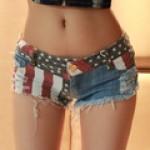 Bermuda Jeans feminino com estampa americana 0475-EL
