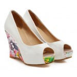 Sandália plataforma de salto alto  stilo floral