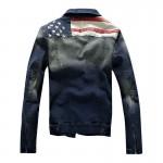 Jaqueta jeans lavado com bandeira americana Cod 0667