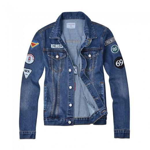 Top jaquetas esportivas Slim Fit em jeans Denin para homens Cod 0629