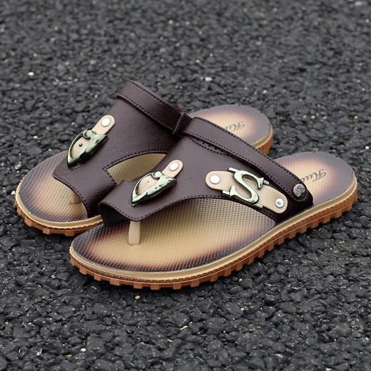 Sandálias Masculino de Couro Pu para uso diário 0805