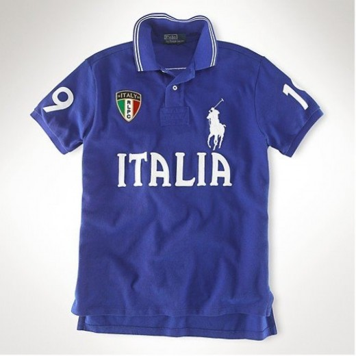 Camisa Polo Azul Italia Big Pony Ralph Lauren - Cod 0024