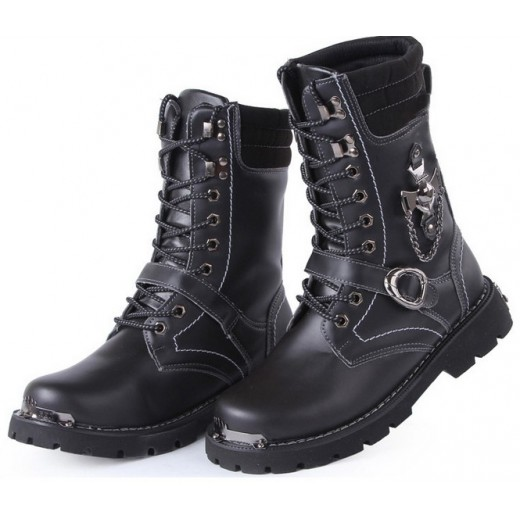 Bota de couro masculino para motoqueiro ou militar cor preta 0299-EL