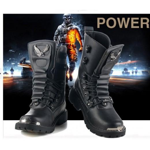 Bota de couro masculino para motoqueiro ou militar cor preta ***Pronta Entrega*** 0439-EL