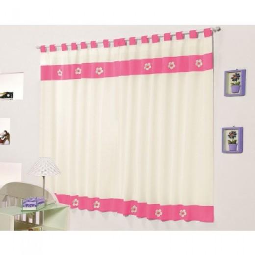 Cortina Palha e Pink 2 metros para Varão Simples Diana