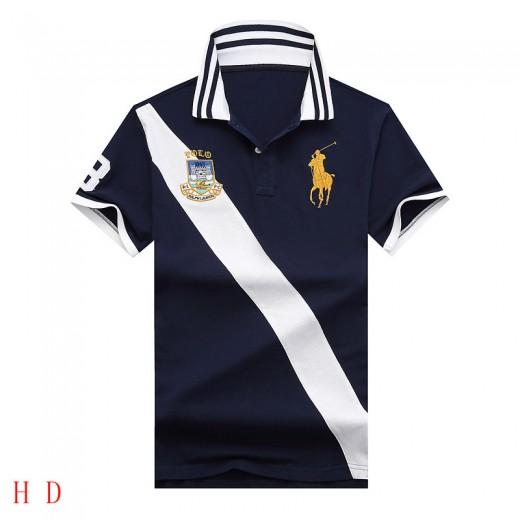 Camisa Polo cores Azul, Vermelho e Btranco Faixa diagonal Big Pony RL 1335EL