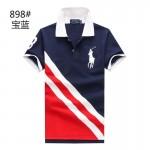 Camisa Polo cores Vermelho, Btranco E Azul Faixa diagonal Big Pony RL 1336EL