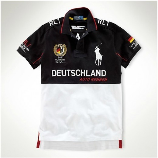 Camisa Polo Preta e Branca Deutschland Britain Big Pony RL 1327EL