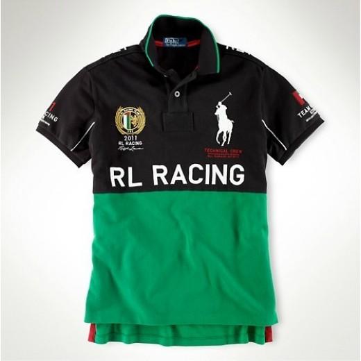 Camisa Polo Preta e Verde RL RACING Big Pony RL 1331EL