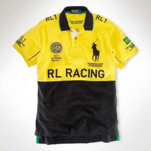 Camisa Polo amarela e Preta RL RACING Big Pony RL 1328EL