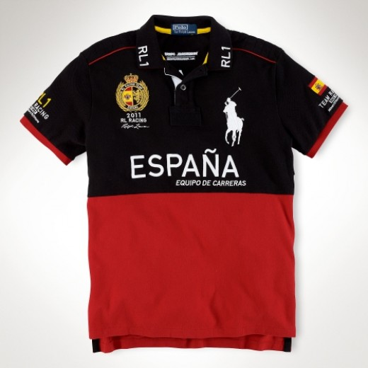 Camisa Polo Preta e Vermelha ESPANA Big Pony RL 1330EL