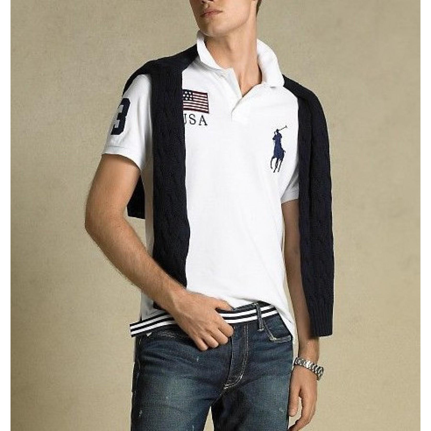 Camisa polo Ralph Lauren modelo Usa cor branca Cod 0606 5ac99aab4ec76